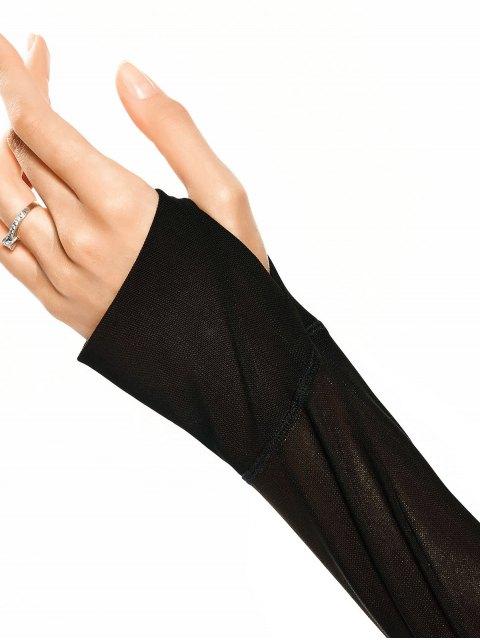 fancy Mesh Panel Cropped Sporty Thumbhole Top - BLACK L Mobile