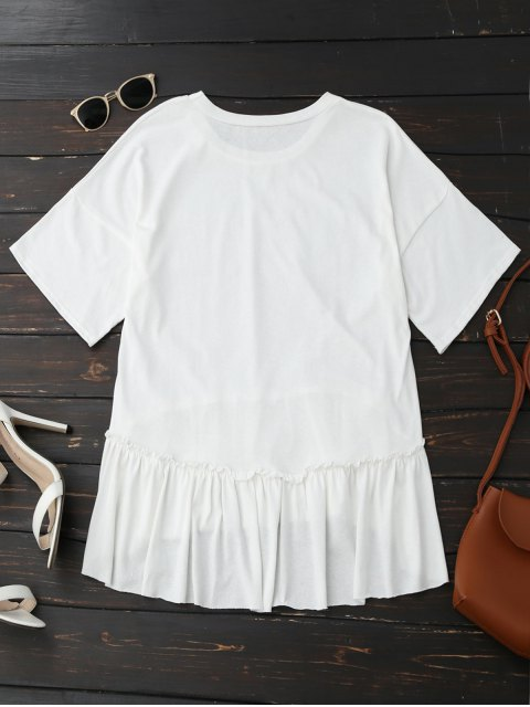 outfits Short Sleeve Ruffle Hem T-Shirt - WHITE ONE SIZE Mobile