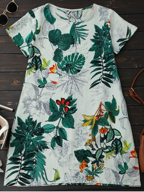 sale Leaf Print Linen Smock Dress - GREEN M Mobile