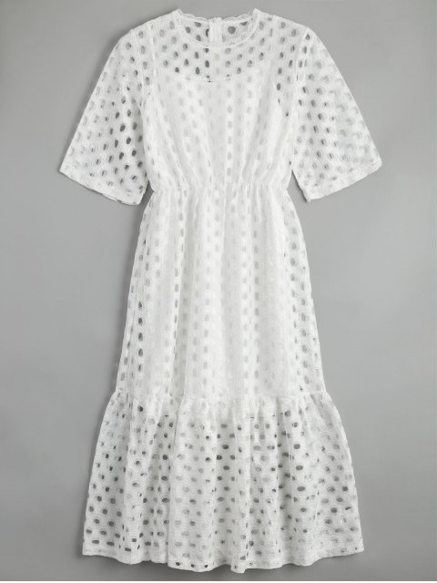 fancy Hollow Out Ruffle Dress with Tank Top - WHITE XL Mobile