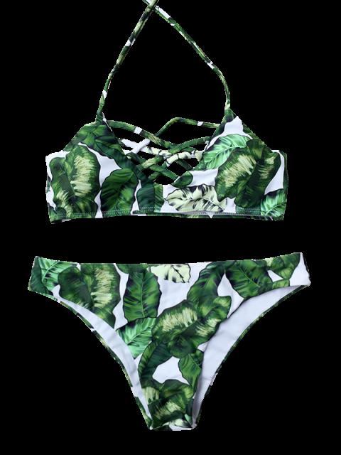 online Padded Leaf Print Strappy Bikini - GREEN M Mobile