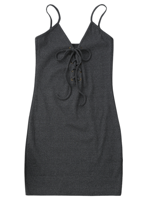 fashion Lace Up Cami Knit Bodycon Dress - GRAY ONE SIZE Mobile