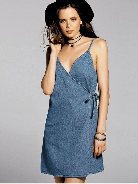 fancy Blue Cami A Line Denim Dress - BLUE M Mobile