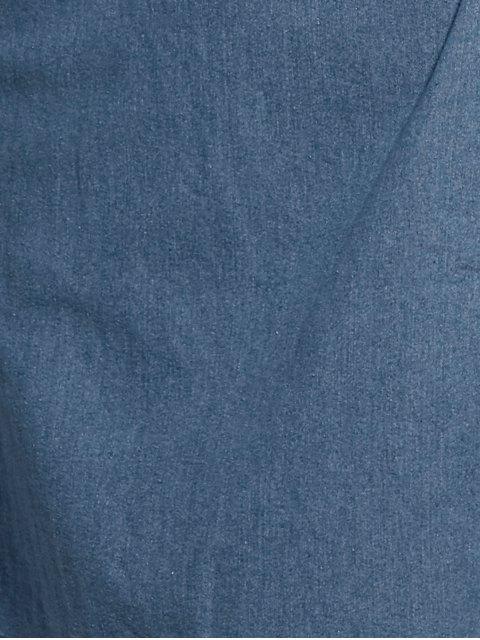 unique Blue Cami A Line Denim Dress - BLUE S Mobile