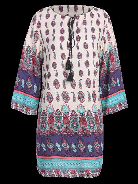 fashion Retro Print Tunic Dress - COLORMIX M Mobile