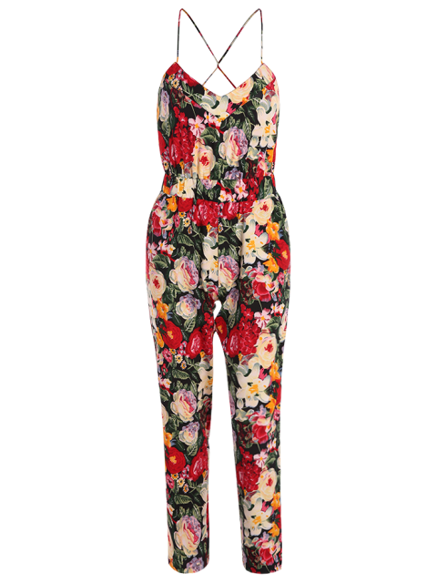 trendy Red Floral Print Cami Jumpsuit - RED L Mobile