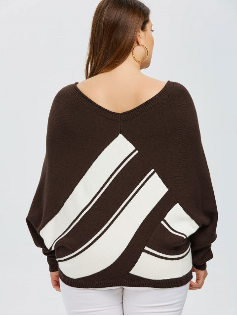trendy Color Block Plus Size V Neck Sweater - COFFEE 4XL Mobile