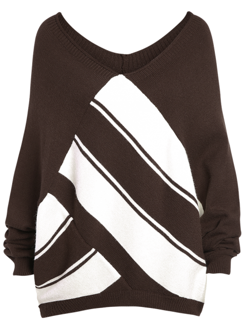 fashion Color Block Plus Size V Neck Sweater - COFFEE 3XL Mobile