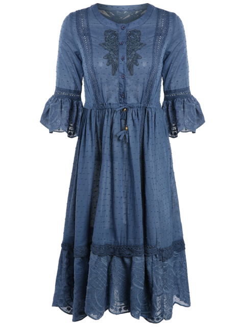affordable Frayed Lace Inset Midi Dress - BLUE L Mobile