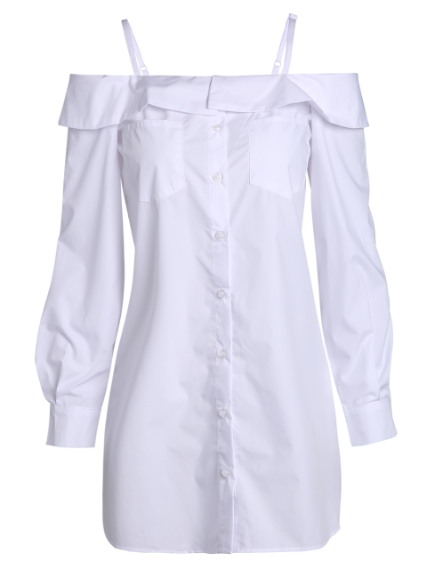 shops Cold Shoulder Button Up Blouse - WHITE 2XL Mobile