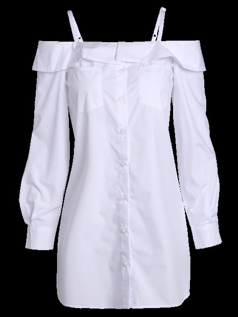 trendy Cold Shoulder Button Up Blouse - WHITE L Mobile