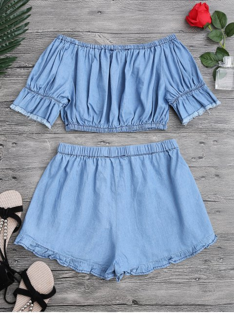 women's Off The Shoulder Cropped Top and Ruffles Shorts - BLUE S Mobile
