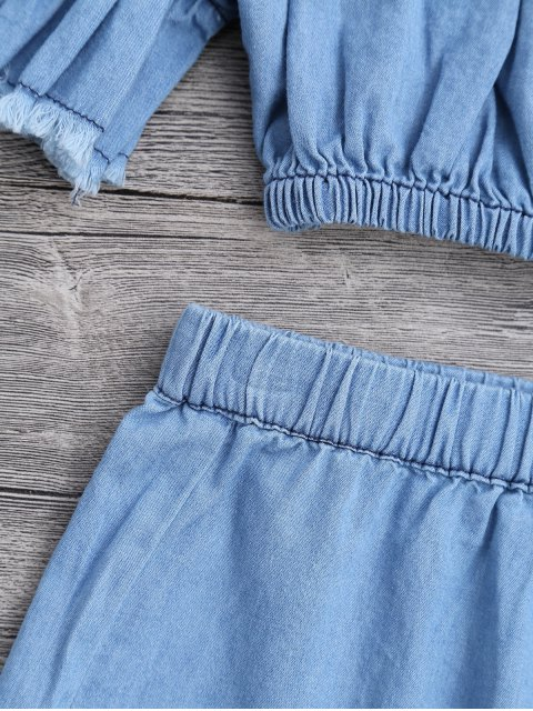 ladies Off The Shoulder Cropped Top and Ruffles Shorts - BLUE M Mobile