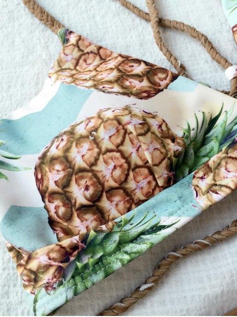 women's Cami Pineapple Print Back Strappy Bikini - COLORMIX M Mobile