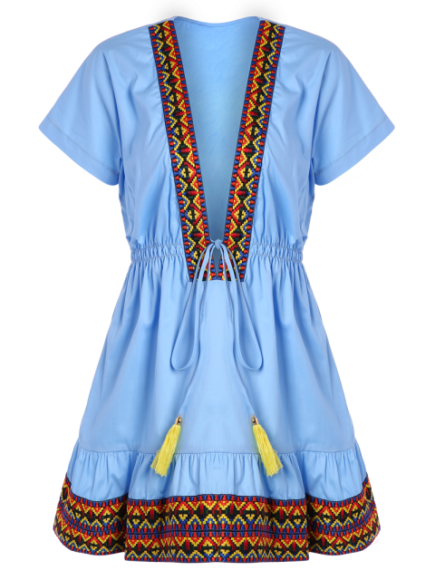 shop Embroidered Plunging Neckline Dress - BLUE 2XL Mobile