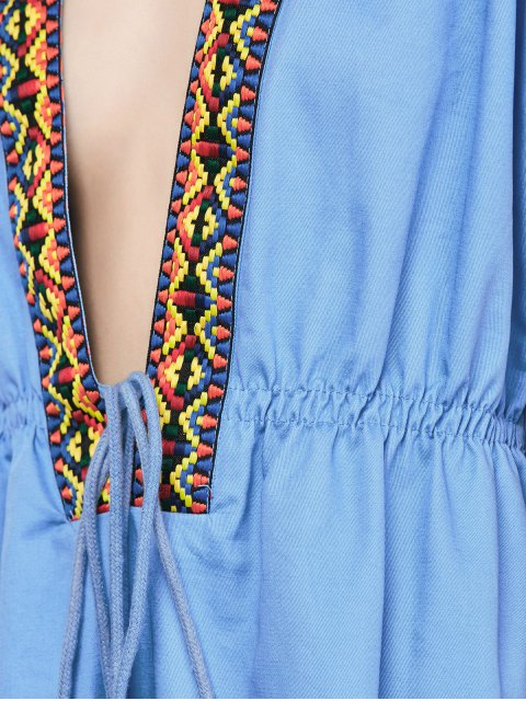 trendy Embroidered Plunging Neckline Dress - BLUE M Mobile