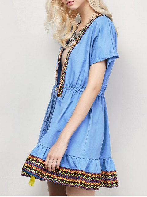 fashion Embroidered Plunging Neckline Dress - BLUE S Mobile