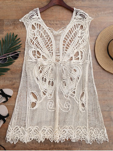 hot Crochet Butterfly Cover Up Tunic Dress - BEIGE ONE SIZE Mobile