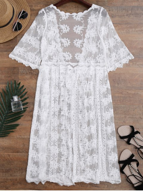 outfits Embroidered Sheer Lace Beach Cover Up - WHITE ONE SIZE Mobile