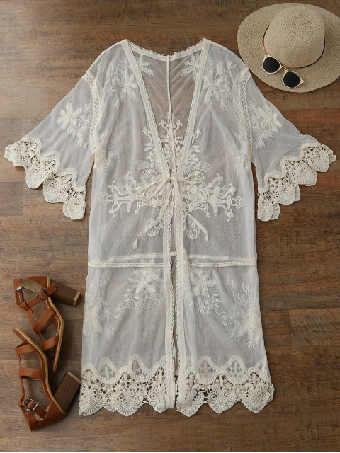 shop Sheer Tulle Beach Kimono Cover Up - BEIGE ONE SIZE Mobile