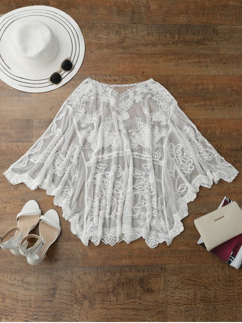 shops Sheer Tulle Beach Cover Up Dolman Top - WHITE ONE SIZE Mobile