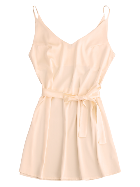 outfit Mini Cami Slip Dress With Choker Strap - APRICOT M Mobile