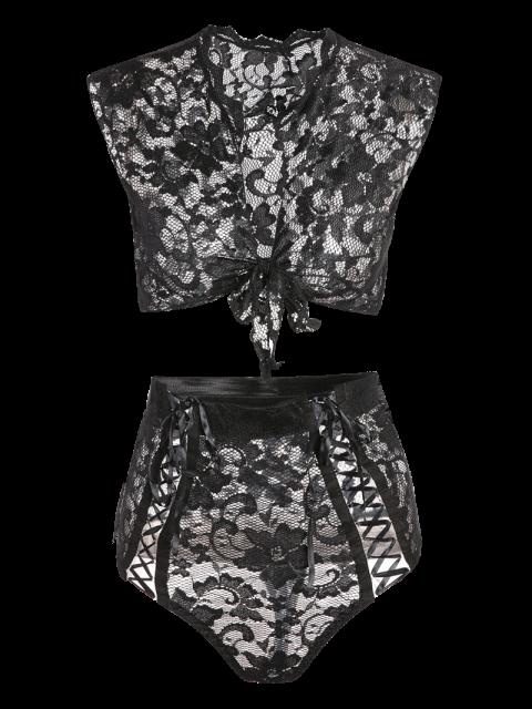 womens Lace Black V Neck High Waisted Bra Set - BLACK M Mobile