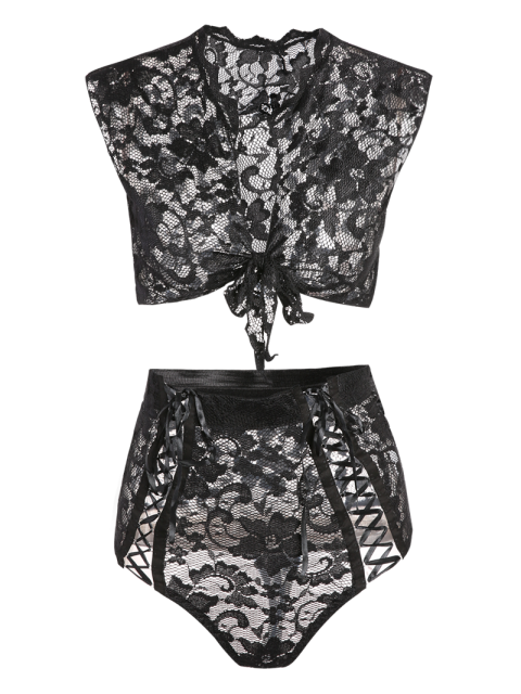 women Lace Black V Neck High Waisted Bra Set - BLACK S Mobile