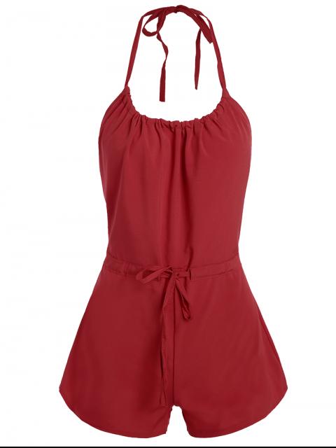 shops Backless Drawstring Halter Solid Color Romper - RED S Mobile