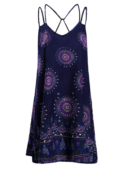 fancy Ethnic Print Cami Backless Dress - PURPLISH BLUE S Mobile