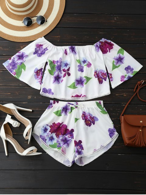 chic Off Shoulder Floral Crop Top and Shorts - WHITE S Mobile