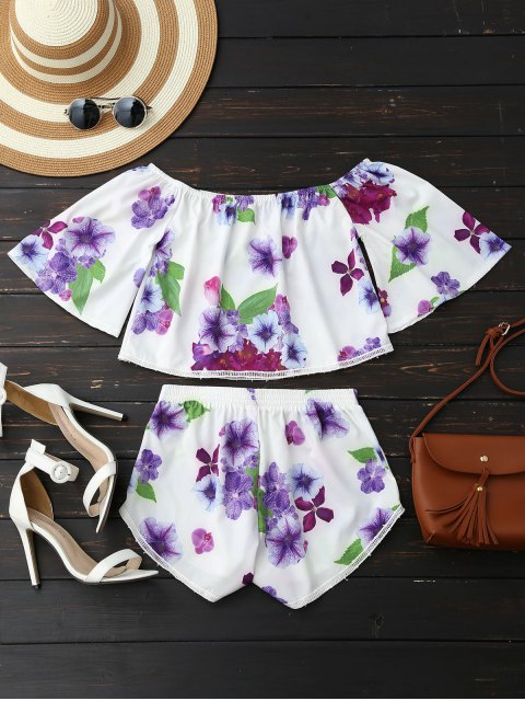 fancy Off Shoulder Floral Crop Top and Shorts - WHITE M Mobile
