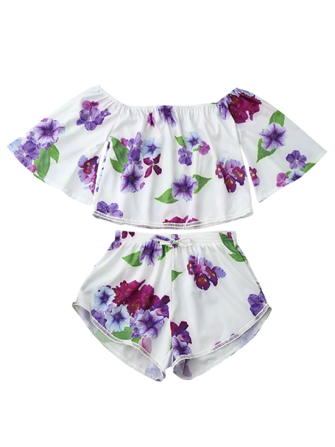 sale Off Shoulder Floral Crop Top and Shorts - WHITE XL Mobile
