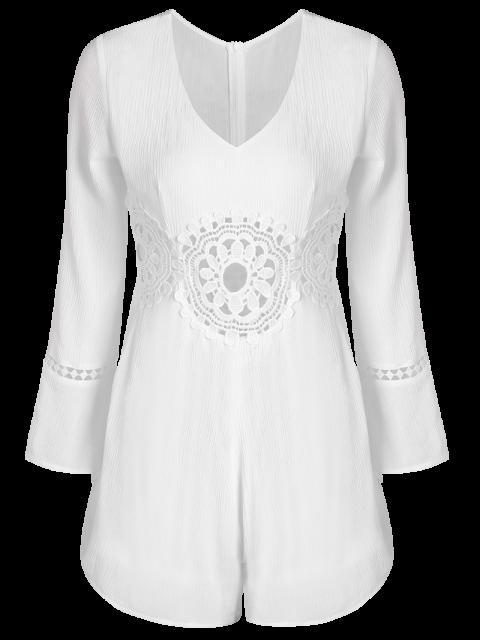ladies Lacework Panel V Neck Romper - WHITE L Mobile
