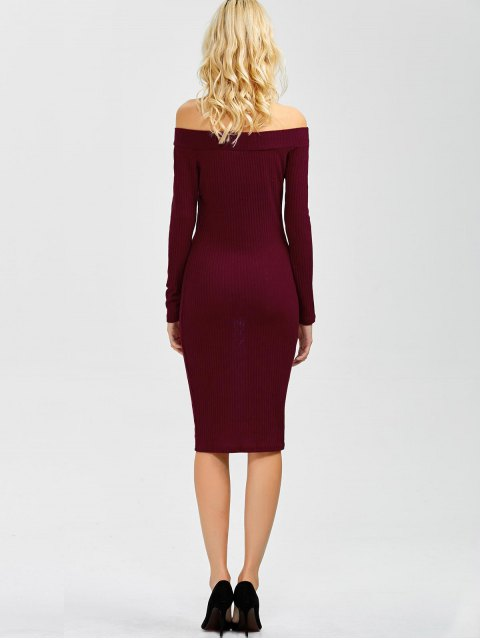 best Off Shoulder Bodycon Long Sleeve Dress - WINE RED XL Mobile