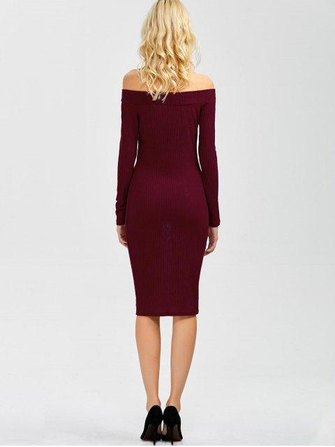 online Off Shoulder Bodycon Long Sleeve Dress - WINE RED L Mobile