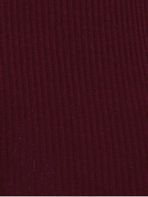 new Off Shoulder Bodycon Long Sleeve Dress - WINE RED M Mobile