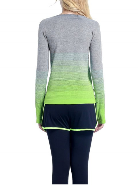 ladies Ombre Yoga Gym T-Shirt - GREEN L Mobile