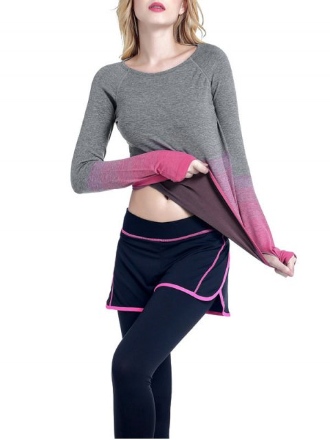 shops Ombre Yoga Gym T-Shirt - ROSE RED L Mobile