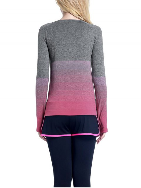 latest Ombre Yoga Gym T-Shirt - ROSE RED M Mobile