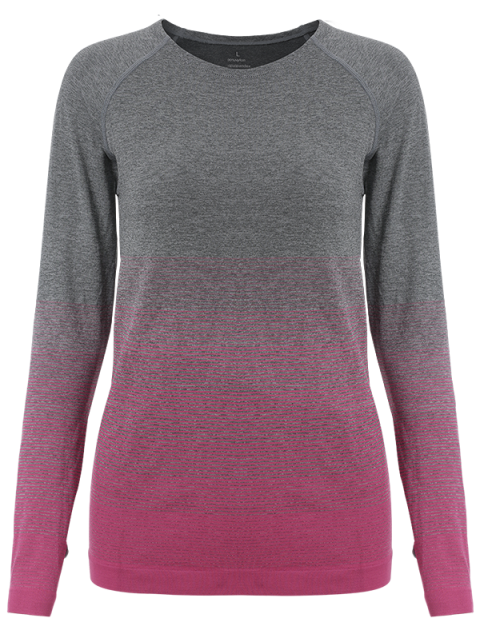 trendy Ombre Yoga Gym T-Shirt - ROSE RED S Mobile