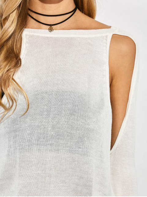 women Crew Neck Cut Out Sweater - WHITE 2XL Mobile
