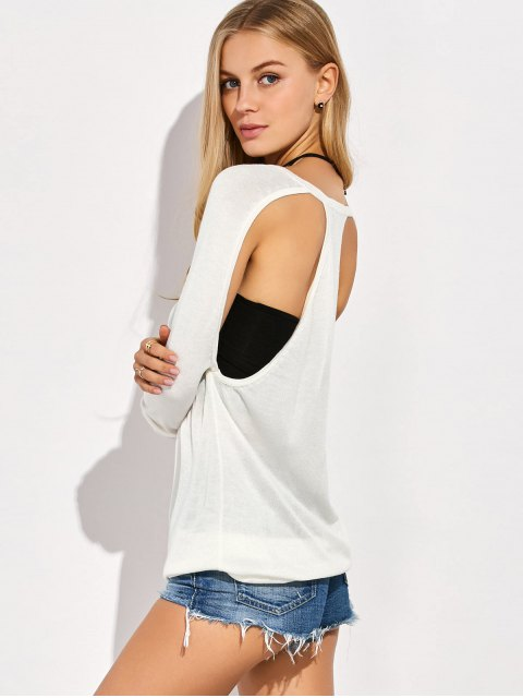 ladies Crew Neck Cut Out Sweater - WHITE L Mobile