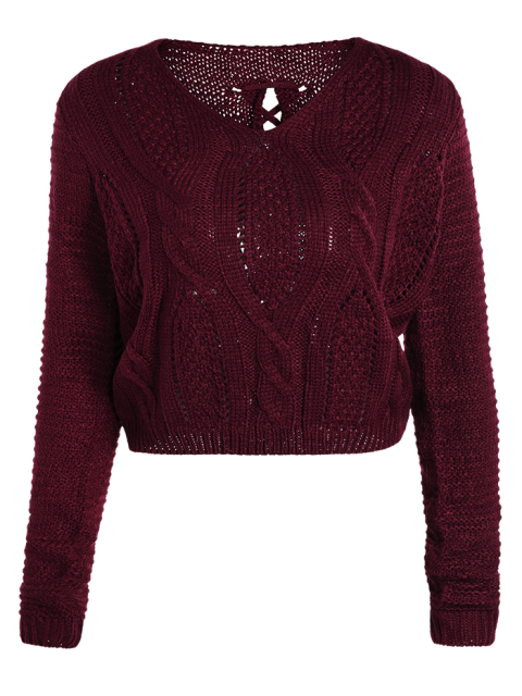 buy Open Cable Knit Crop Sweater - BURGUNDY ONE SIZE Mobile