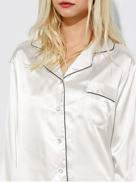 new Fitting Silk Nightwear Pajamas - WHITE M Mobile