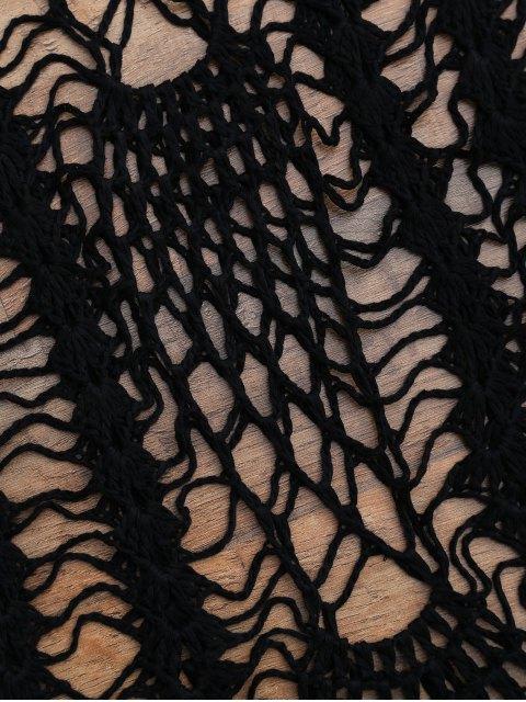 womens Crochet Beach Slip Dress Cover Up - BLACK ONE SIZE Mobile