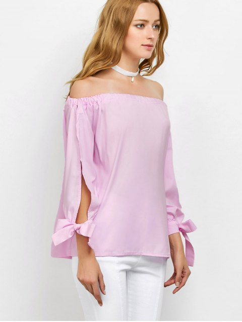 buy Split Sleeve Off The Shoulder Blouse - PINK L Mobile