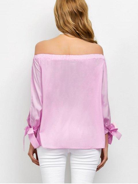 womens Split Sleeve Off The Shoulder Blouse - PINK M Mobile