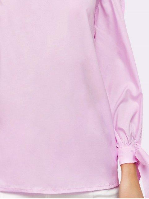 women Split Sleeve Off The Shoulder Blouse - PINK S Mobile