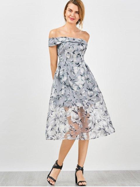best Off The Shoulder Floral Tea Length 50s Dress - SMOKY GRAY 2XL Mobile
